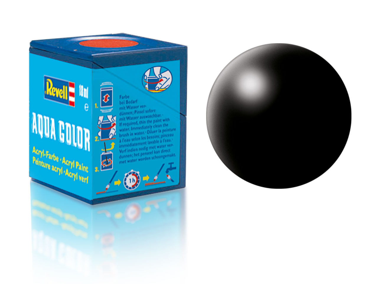 Farba Revell akrylová - 302: hodvábne matná čierna (black silk)